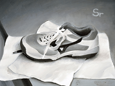 「個性が浮かび上がる!? 油彩グリザイユ静物」 ~実物大で体育館シューズを描く~(第1学年)